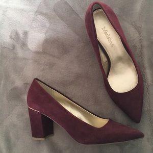 Burgundy and gold heels NWOT